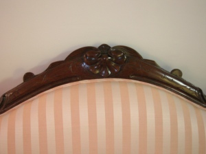 detail of the pink couch